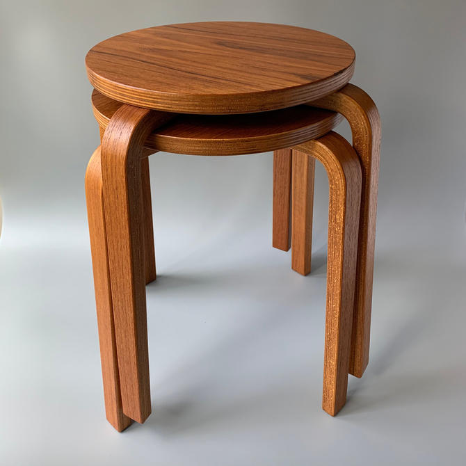 Pair of Mid Century Modern Danish Teak Stools Aalto-Style by HomeAnthology