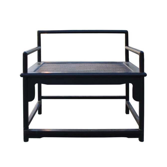 Dark Brown Black African Zitan Rosewood Straight Back Zen Armchair cs5410S