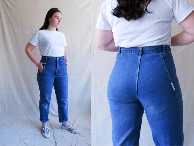 Vintage 80s Side Seam Denim/ 1980s High Waisted Jeans/ Size 34 by bottleofbread