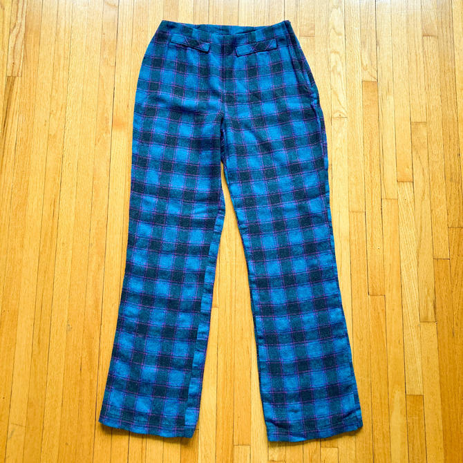 80s Turquoise Magenta Black Plaid Pants   Small by MuteVintage