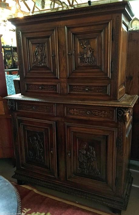 Antique Carved Walnut Italian Court Cupboard Cabinet | 19th cent
