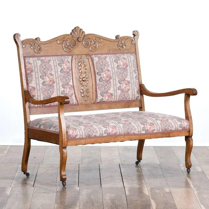 Carved Victorian Oak Floral Settee From Loveseat Los
