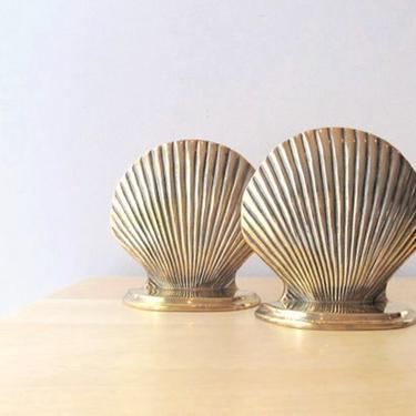 pair brass seashell bookends - scallop nautical decor by ionesAttic