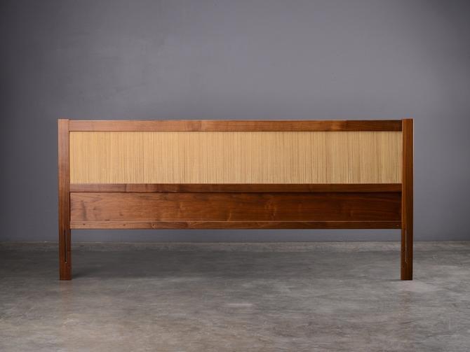 Mid Century King Headboard Walnut and Seagrass Danish Modern by MadsenModern