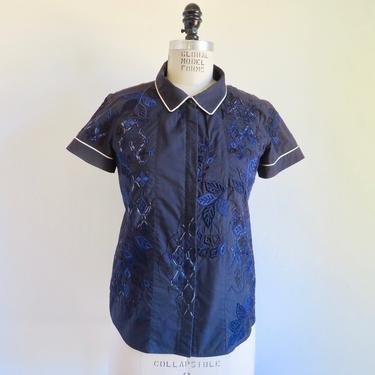 Dries Van Noten Navy Blue Cotton Shirt Short Sleeves Zipper Front Embroidery White Piping Collar Belgian Designer Size 38 EU by seekcollect
