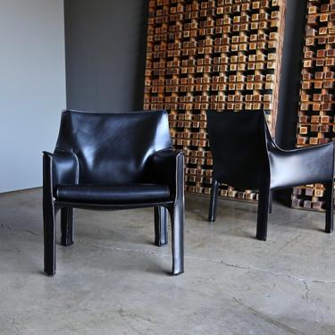 Mario Bellini Leather Cab Lounge Chairs for Cassina