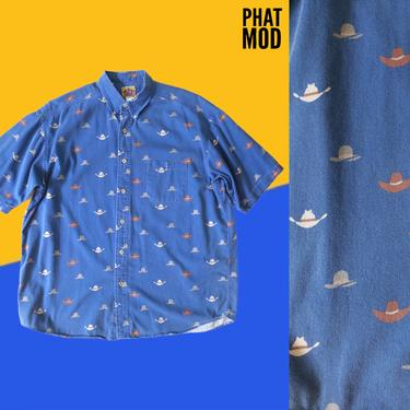 Fun Vintage 00s Blue Men's Short Sleeve Button Down Shirt with Cowboy Hat Novelty Print by RETMOD