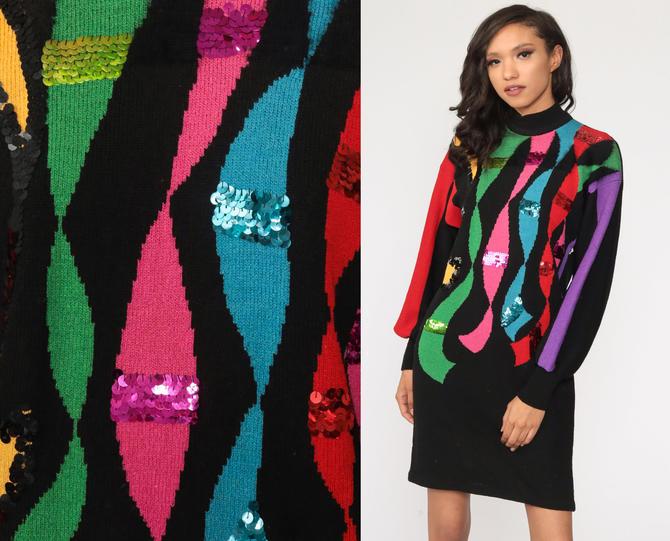 80s Sweater Dress Rainbow Sequin Dress MOHAIR Striped Dress Black Knit Mini Dress 1980s Sheath Dress Vintage Long Sleeve Medium by ShopExile