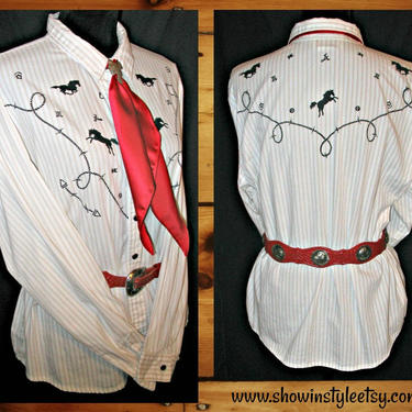 Vintage Retro Women's Cowgirl Western Shirt by Panhandle Slim, Cowgirl Blouse, Horses, Brands & Barbed Wire, Size XLarge (see meas. photo) by ShowinStyle