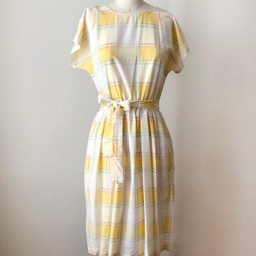 Yellow and White Windowpane Plaid Dress - 1980s by LogansClothing