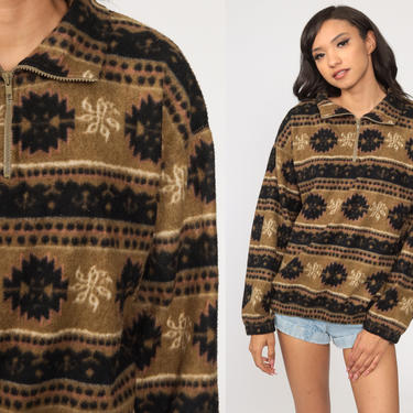 Fleece Pullover Sweatshirt Jacket 90s Bugle Boy Fleece Brown Geometric Jacket Half Zip Jacket Vintage Retro Vintage Medium by ShopExile