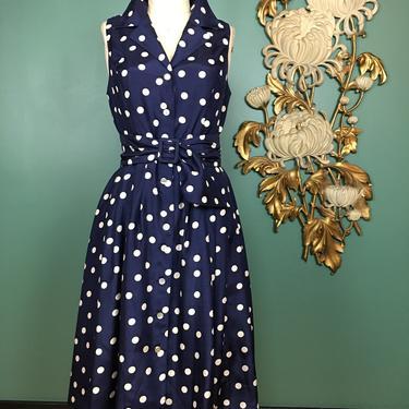 1950s style dress, polka dot dress, vintage 90s dress, navy blue and white, full skirt dress, sleeveless dress, mrs maisel style, 29 waist by melsvanity