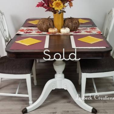 SOLD Farmhouse Dining Table and Chairs. Vintage Kitchen Table Set. Family Seating. Holiday Hosting. Painted Refinished Dining Room Set. by LuebeckCreations