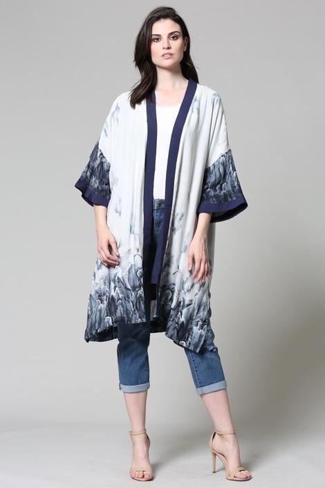 Floral Print Kimono w/Open Front
