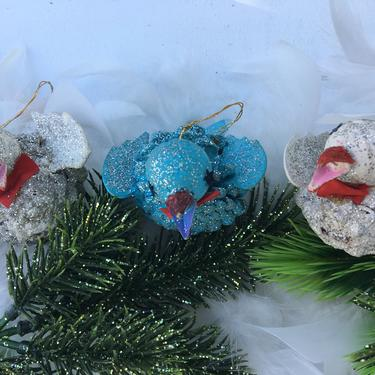 Vintage Pinecone Bird Ornaments, Christmas Tree Ornament Set Of 3, 2 White, 1 Blue Glittery Mid Century, Vintage Christmas by luckduck