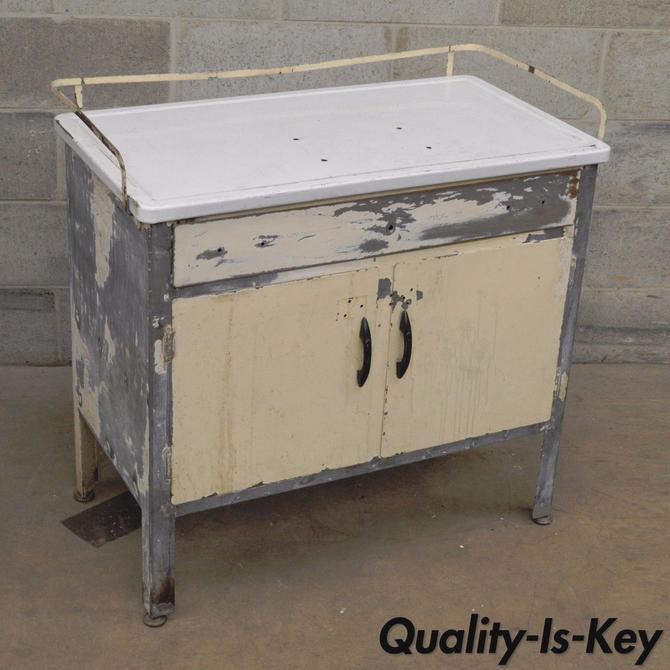 Antique Industrial Steel Metal Enamel Top Medical Cabinet DIY Bathroom  Kitchen - Antique Industrial Steel Metal Enamel Top Medical Cabinet DIY