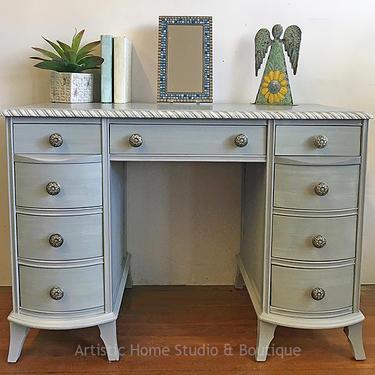 Beautiful Gray Vintage Desk or Vanity