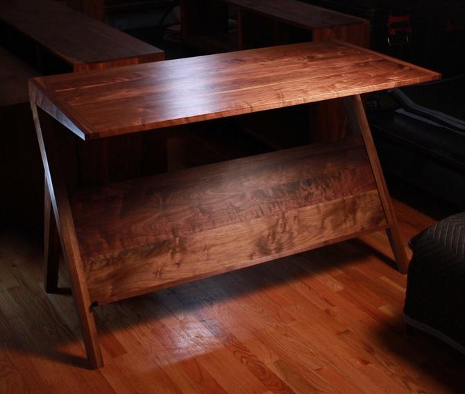 Navarro Sofa Table, Mid-Century Hallway Table, Modern Sofa Table with Magazine Storage (Shown in Walnut) by TomfooleryWood