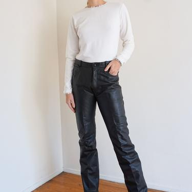 Vintage Slim Cut Leather Pants sz 27 28 Tall Long Inseam Trousers Motorcycle Bootcut 1990s Minimal by backroomclothing