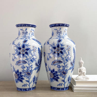 Pair Blue White Chinese Baluster Mantle Vases Tall Porcelain Chinoiserie Vessels by ModRendition
