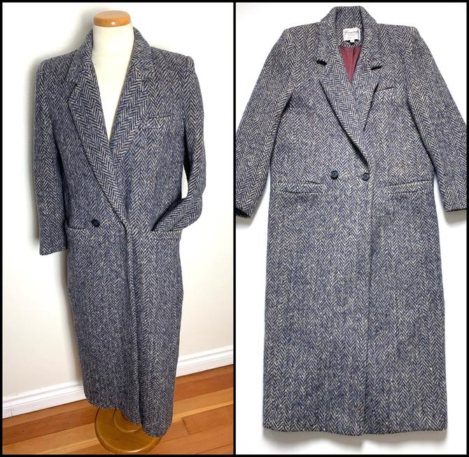Vintage Women's Ferncroft WOOL TWEED Overcoat ~ size M / Tagged 12 ~ Herringbone / Donegal ~ Jacket / Trench Coat / Swing ~ Made in USA by SparrowsAndWolves