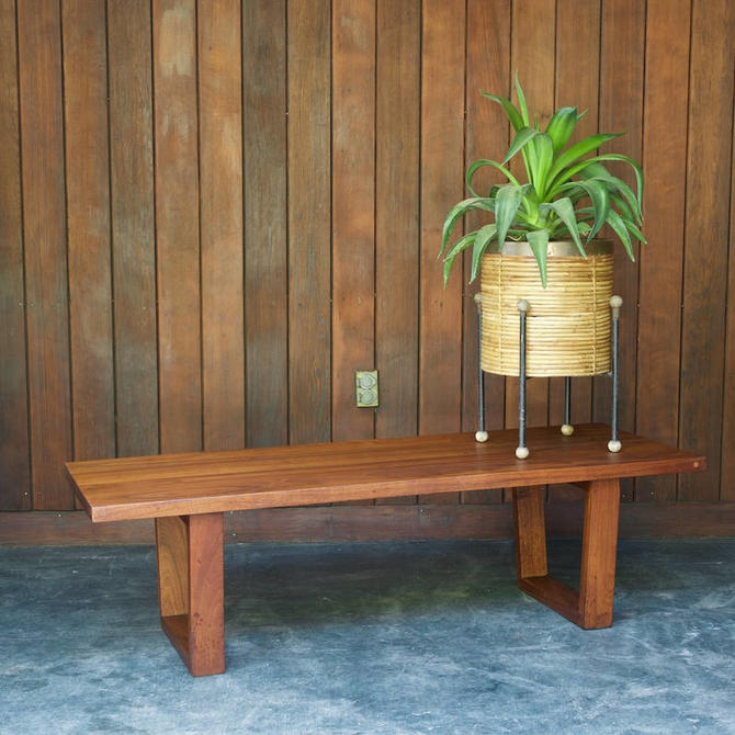 American Studio Craft Walnut Minimalist Bench 1950s Vintage Mid-Century George Nelson inspired by BrainWashington