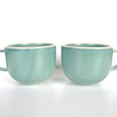 Set Of 2 Sasaki Colorstone Coffee Mugs In Matte Vert De Gris, Massimo Vignelli Sea Foam Green, Post Modern Coffee Cups, Minimalist Kitchen by HerVintageCrush