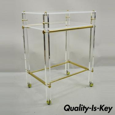 Lucite and Brass Mid Century Modern Rolling Bar Cart Trolley Tea Table Stand