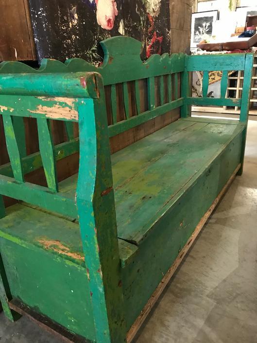 European Green Bench with Storage