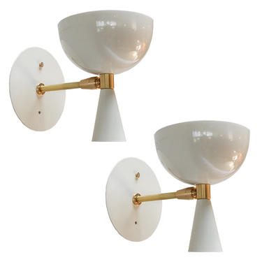 Pair of Custom Small White Metal Mid Century Style Sconces