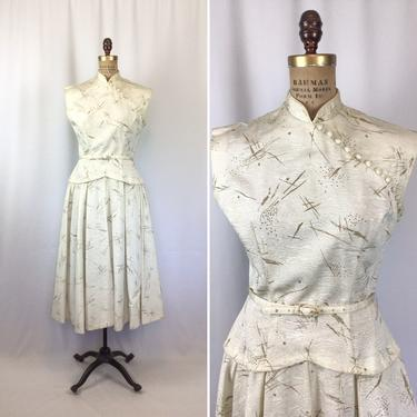 Vintage 50s dress   Vintage cream gold fit and flare dress   1950s asian inspired cocktail party dress by BeeandMason