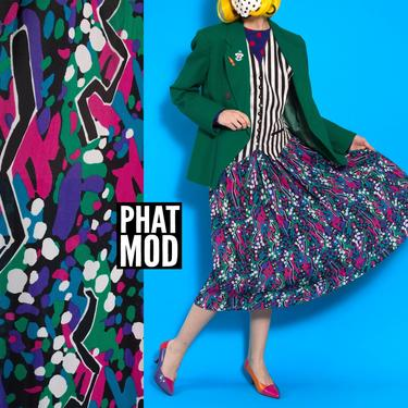 Lovely Vintage 80s 90s Black Purple Green White Abstract Confetti Patterned Midi Skirt by RETMOD