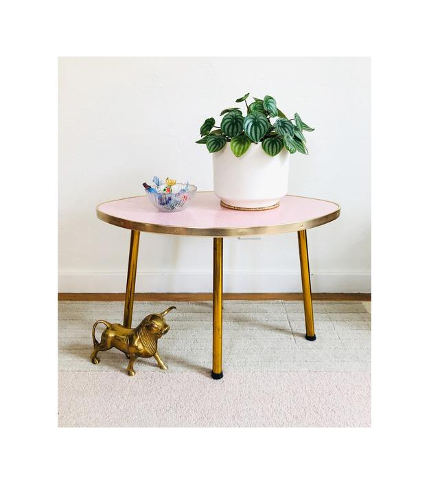 Mid Century Pointed Oval Pink Laminate Table by SergeantSailor
