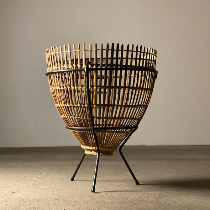Modernist Iron + Rattan Fish Trap Table by midcenTree