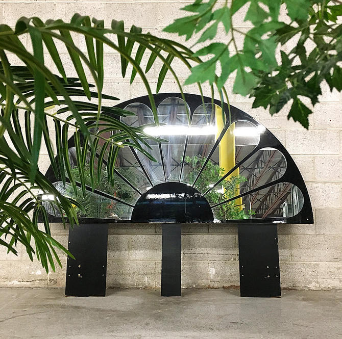 LOCAL PICKUP ONLY Vintage Mirrored Headboard Retro 1960's Queen Size Hollywood Regency Half Circle Peacock Black Bed-frame with Round Mirror by RetrospectVintage215