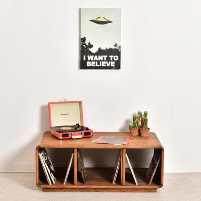 Low Profile Oak Credenza Record Holder
