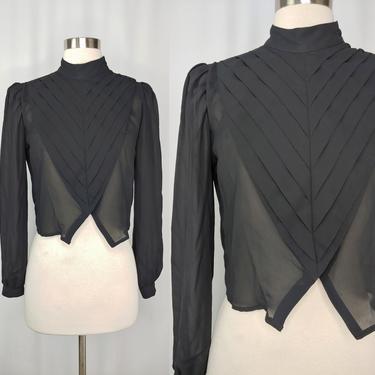 Vintage 80s Small Black Sheer Pleated Long Sleeve Blouse - Eighties Small Victorian Prairie Style High Collar Top by JanetandJaneVintage