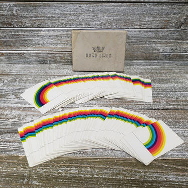 Vintage Rainbow Playing Cards, 2 Decks of Cards, 1970s Home Lines Cards in Box, Poker Bridge Game Night, Magic Tricks Vintage Toys & Games by AGoGoVintage