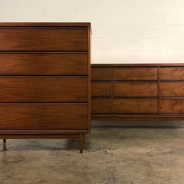 Mid-Century Modern Walnut Bedroom Furniture ~ 4-Drawer Chest & 9-Drawer Dresser by modernmidcenturyfurn