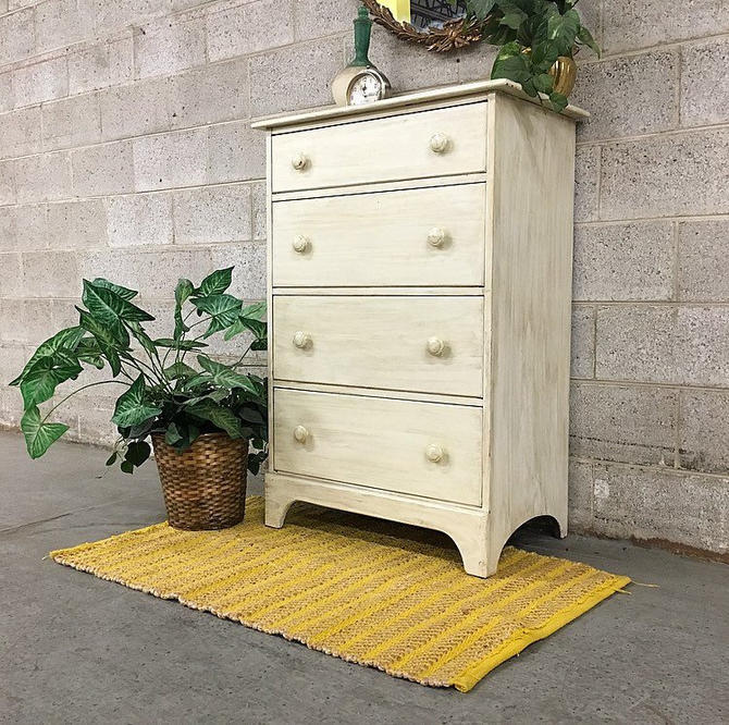 LOCAL PICKUP ONLY Vintage Wood Bureau Retro 1990's Creme Four Drawer Tall Dresser with Wood Knobs and Distressed Paint Strokes Bedroom by RetrospectVintage215