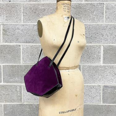 Vintage Shoulder Bag Retro 1980s Charles Jourdan + Purple + Black + Suede + Geometric Shape + Double Strap + Crossbody Bag + Accessory by RetrospectVintage215