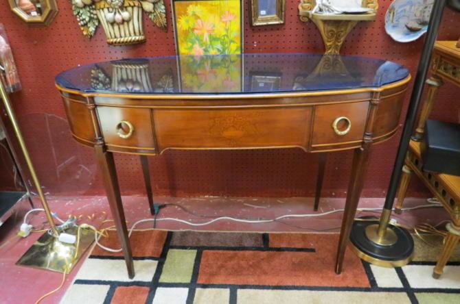 Vintage Antique Walnut desk with blue glass top