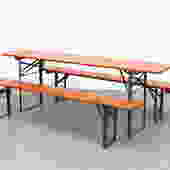 Original Orange Painted German Beer Garden Table and Bench Set