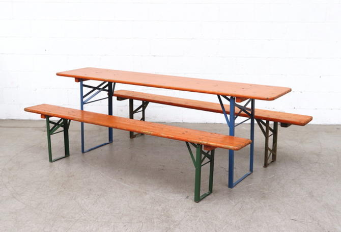 Orange Painted German Beer Garden Table, German Beer Garden Table