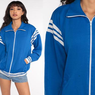 Retro Track Jacket Zip Up Sweatshirt 80s Striped Jacket 1980s Sport Plain Royal Blue Sweatshirt Retro Vintage Tracksuit Medium Large by ShopExile