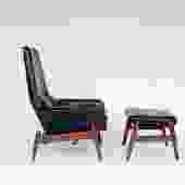 Ib Kofod-Larsen PD-30 Leather Lounge Chair with Ottoman for Povl Dinesen