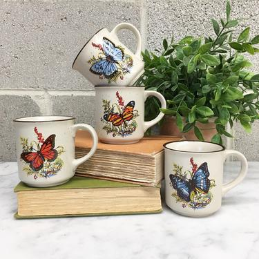Vintage Mug Set Retro 1970s Viking + Handcrafted + Stoneware + Set of 4 + Butterfly Design + Ceramic + Coffee Cups + Home and Kitchen Decor by RetrospectVintage215