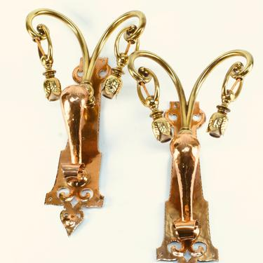 Handmade Arts and Crafts Brass and Copper Art Nouveau Wall Sconces in style of WAS Benson #2059  SHIPPING INCLUDED by vintagefilament