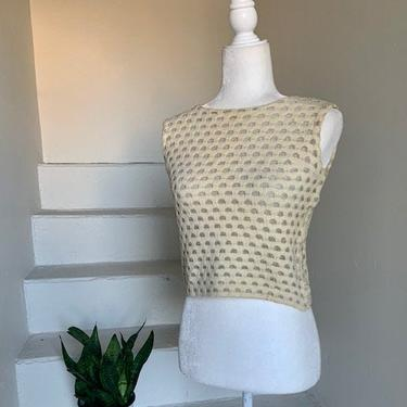 1960s Cream and Silver Knit Cropped Top Yeye Girl 34 Bust Vintage Crop Top by AmalgamatedShop