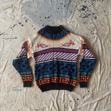 Vintage Mixed Blues Vibrant Crewneck Sweater by NorthGroveAntiques